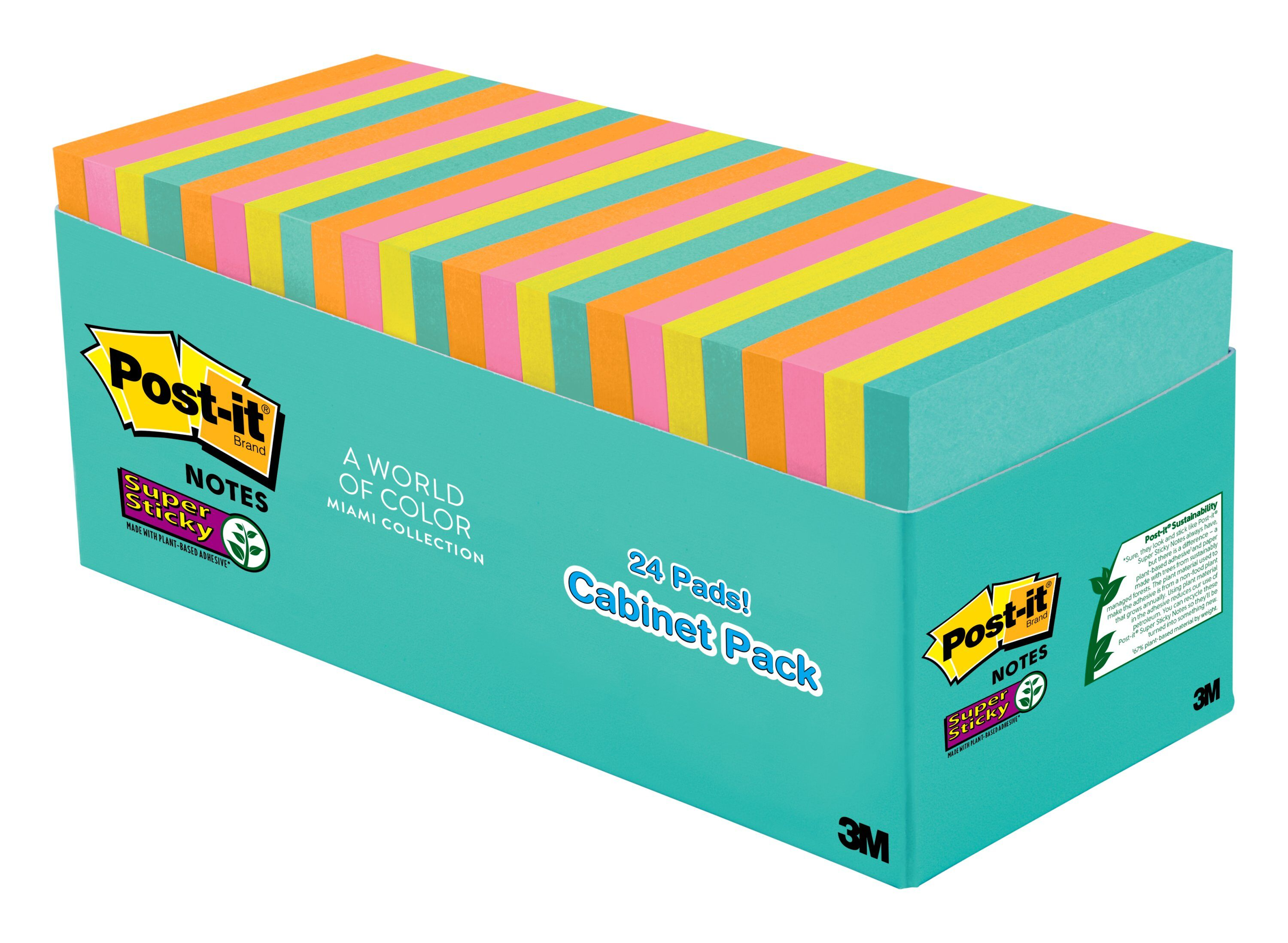 Marseille Colors Post-it Notes , 1 3//8 in x 1 7//8 in Sticky Notes 24 Pads