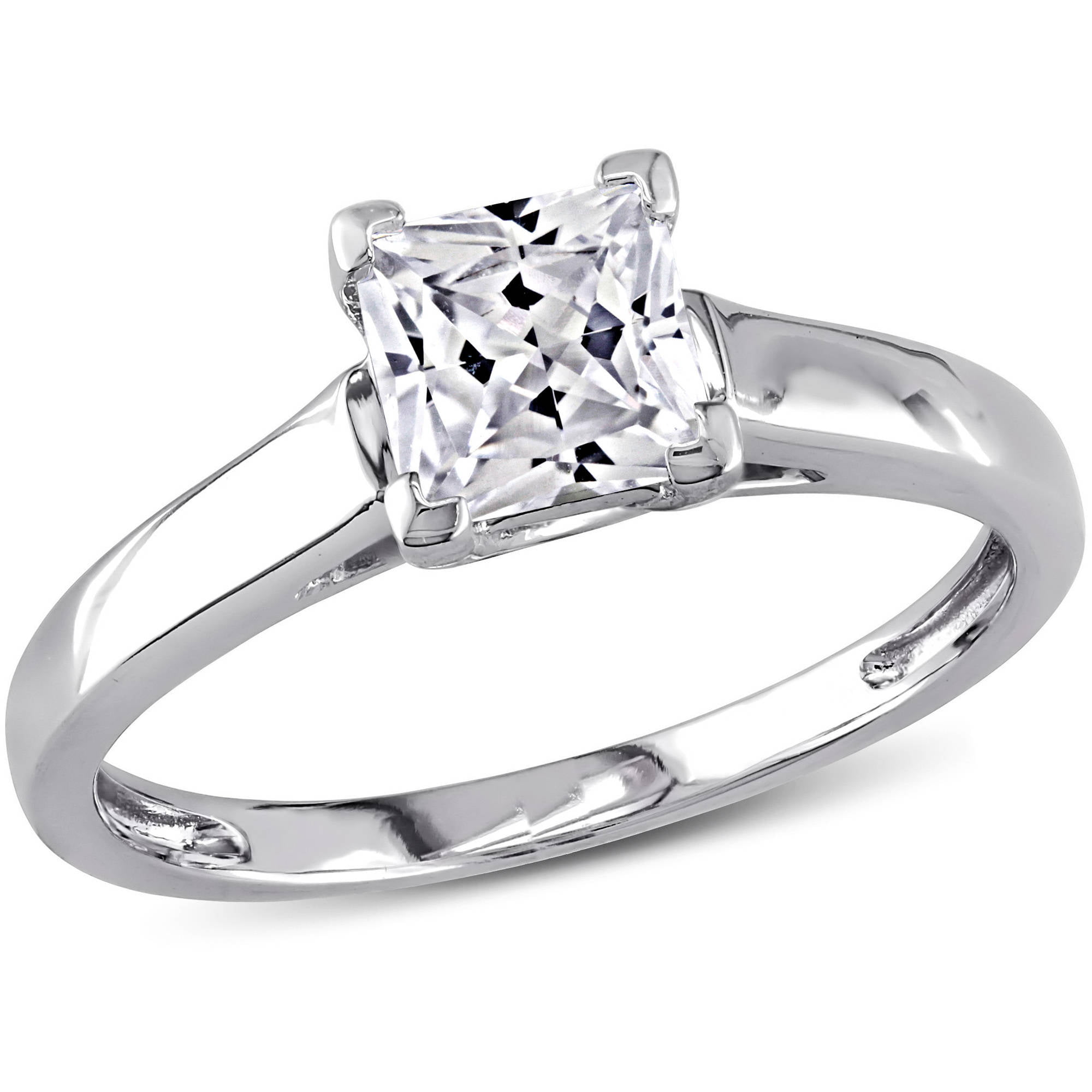 miabella 1 carat tgw princess cut created white sapphire 10kt white gold solitaire engagement ring walmartcom - Wedding Rings From Walmart