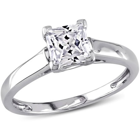 1 Carat T.G.W. Princess-Cut Created White Sapphire 10kt White Gold Solitaire Engagement Ring
