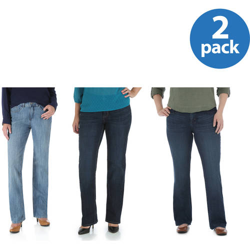 The Riders By Lee Women;s Slender Stretch Straight Leg Jeans Available in Regular, Petite, and Long Lengths 2pk Value Bundle