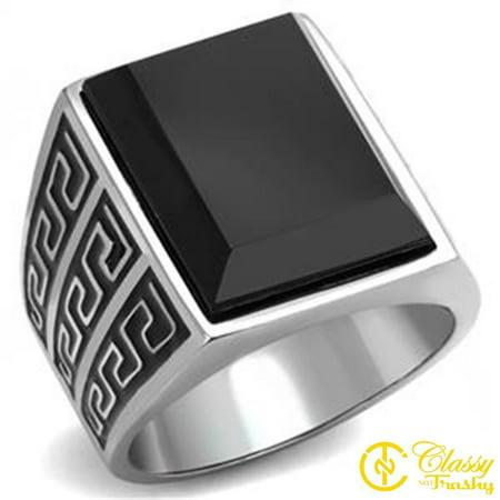 Classy Not Trashy® Black Synthetic Onyx Maze Design Men's Ring Size 11 ()