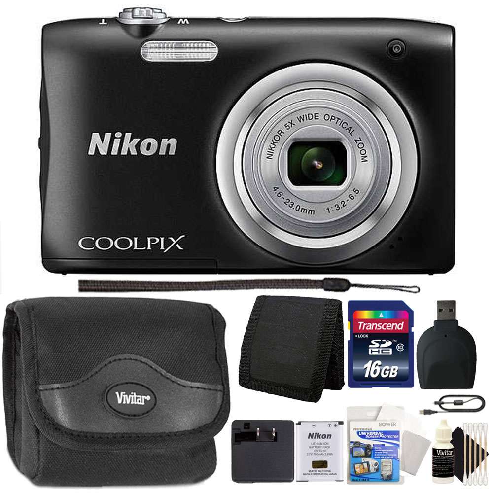 Nikon COOLPIX A100 20.1MP f/3.7-6.4 Max Aperture Compact Point and Shoot Digital Camera + Accessory Kit Black