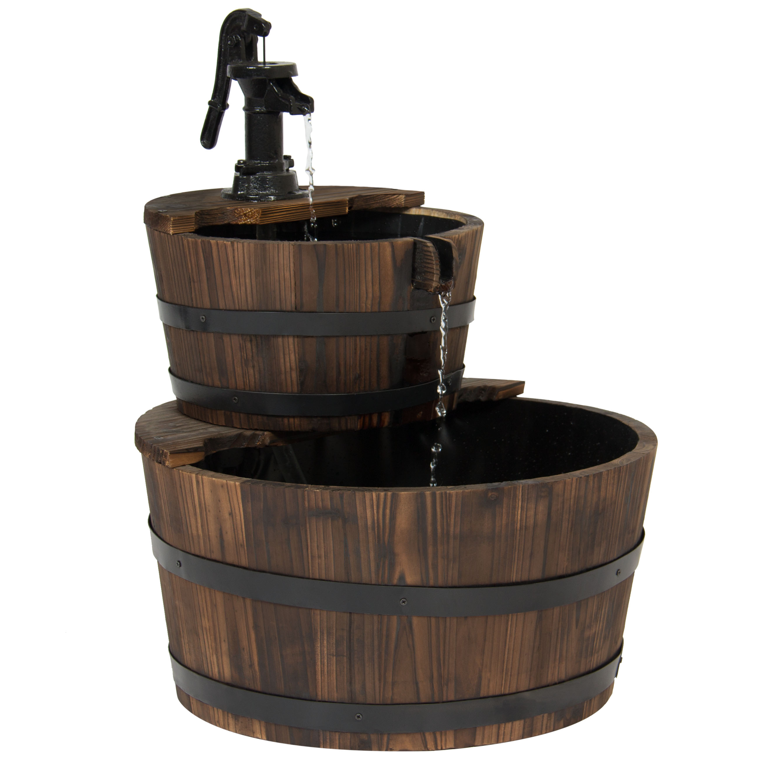 Best Choice Products Outdoor Garden Decor 2-Tier Wood Barrel Water Fountain W  Pump Brown by Best Choice Products
