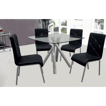 Best Master Furniture 5 Pcs Square Glass Dinette Set, Black ()