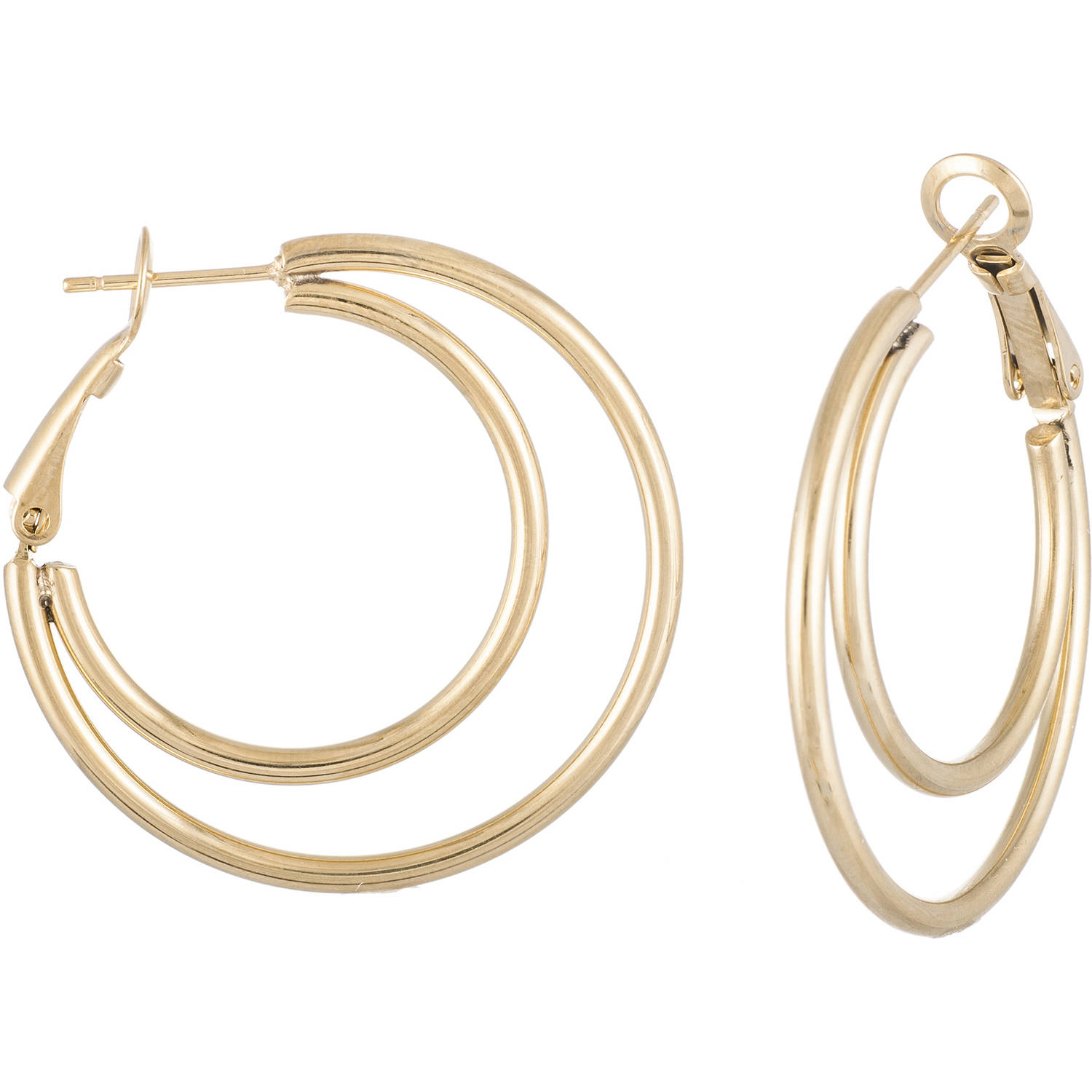 Angelique Silver Gold-Tone Stainless Steel 34mm Double-Hoop Earrings