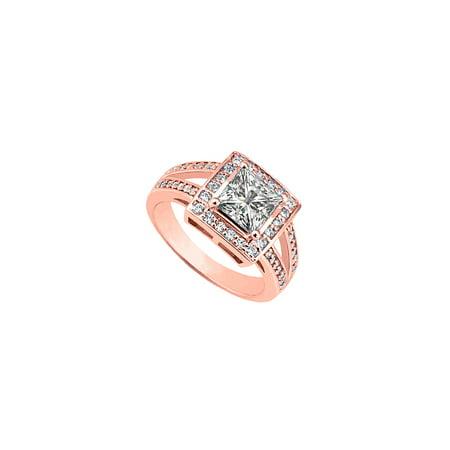 Gorgeous Cubic Zirconia Engagement Ring 14K Rose Gold - image 2 de 2