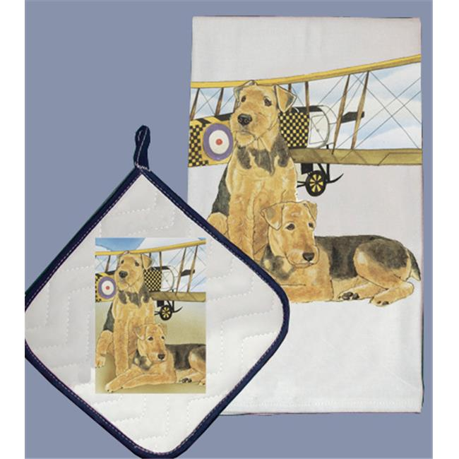 Pipsqueak Productions DP888 Dish Towel and Pot Holder Set - Airedale