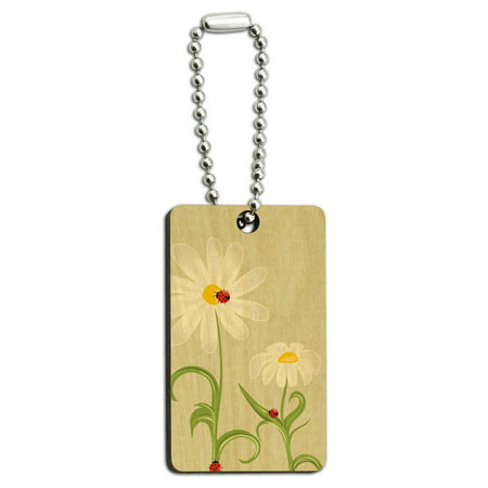 Ladybugs on Daisies - Lady Bugs Daisy Flowers Wood Rectangle Key Chain