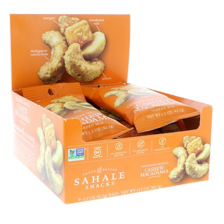 Sahale Snacks  Glazed Mix  Tangerine Vanilla Cashew-Macadamia  9 Packs  1 5 oz  42 5 g  Each