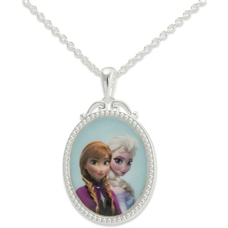 Disney Frozen Silver-Tone Princess Elsa and Anna Pendant