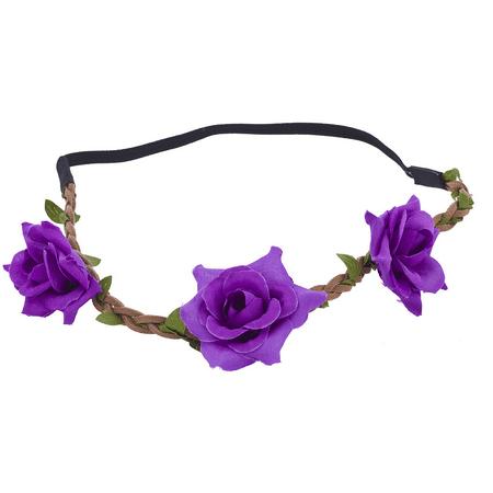 Lux Accessories Purple Flower Crown Green Leaf Brown Suede Braid Headband