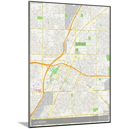 Las Vegas, United States of America Map Wood Mounted Poster Wall Art
