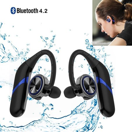 Twins Cordless Business Bluetooth 4.2 Wireless Earphones IPX6 Waterproof 3D Stereo Noise Cancellation with Built-in Microphone 12H Talk Time for Gym Running Exercising Meeting