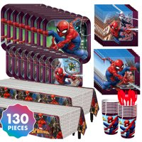 Spider-Man Tableware Kit  For 16 130 pc w/ Plates Napkins Cups and Table Covers