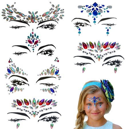 Face Jewels Rhinestone Gems Perfect Rhinestone Face Jewelry (6 pcs) - Bindi Temporary Tattoos Body Stickers Mermaid Festival Crystal Jewelry for A Dress-Up or Costume Party By Amazing - Little Mermaid Temporary Tattoos