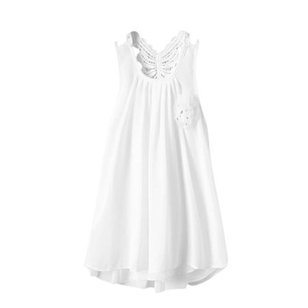 Outtop Newborn Toddler Baby Girls Solid Flower Butterfly Backless Casual Dress Clothes - Butterflies Clothing