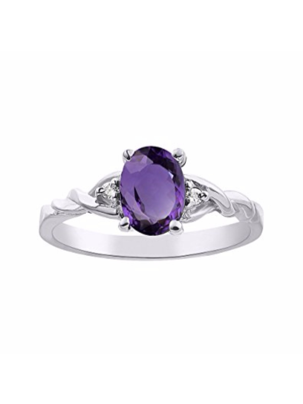 Details about  /14k White Gold Oval Amethyst And Diamond Ring