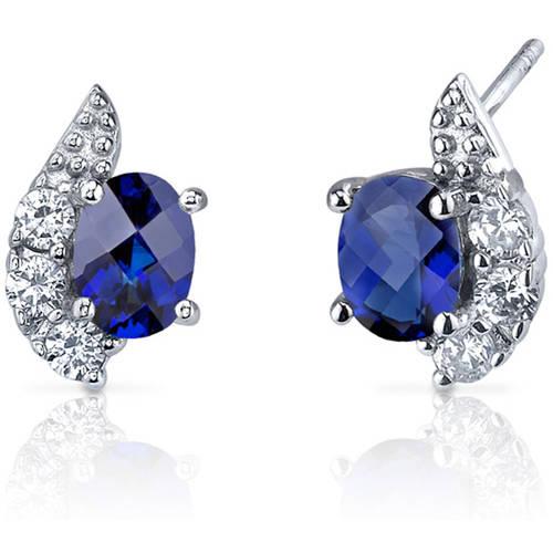 2.00 Carat T.G.W. Checker-Cut Sapphire Rhodium over Sterling Silver Stud Earrings