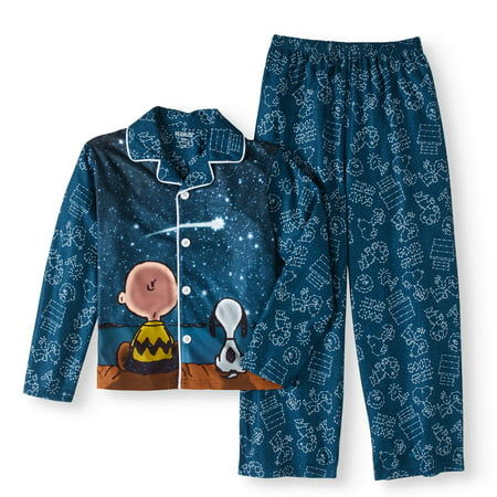 Peanuts Charlie Brown And Snoopy Star Gazing Traditional Pajama - Galaxy Outfit