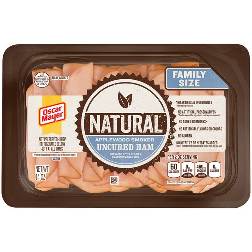Oscar Mayer Natural Applewood Smoked Uncured Ham, 14 oz