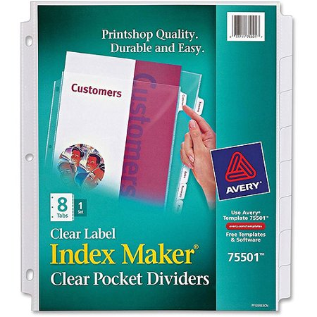 Avery Index Maker Clear Pocket View Dividers Walmart
