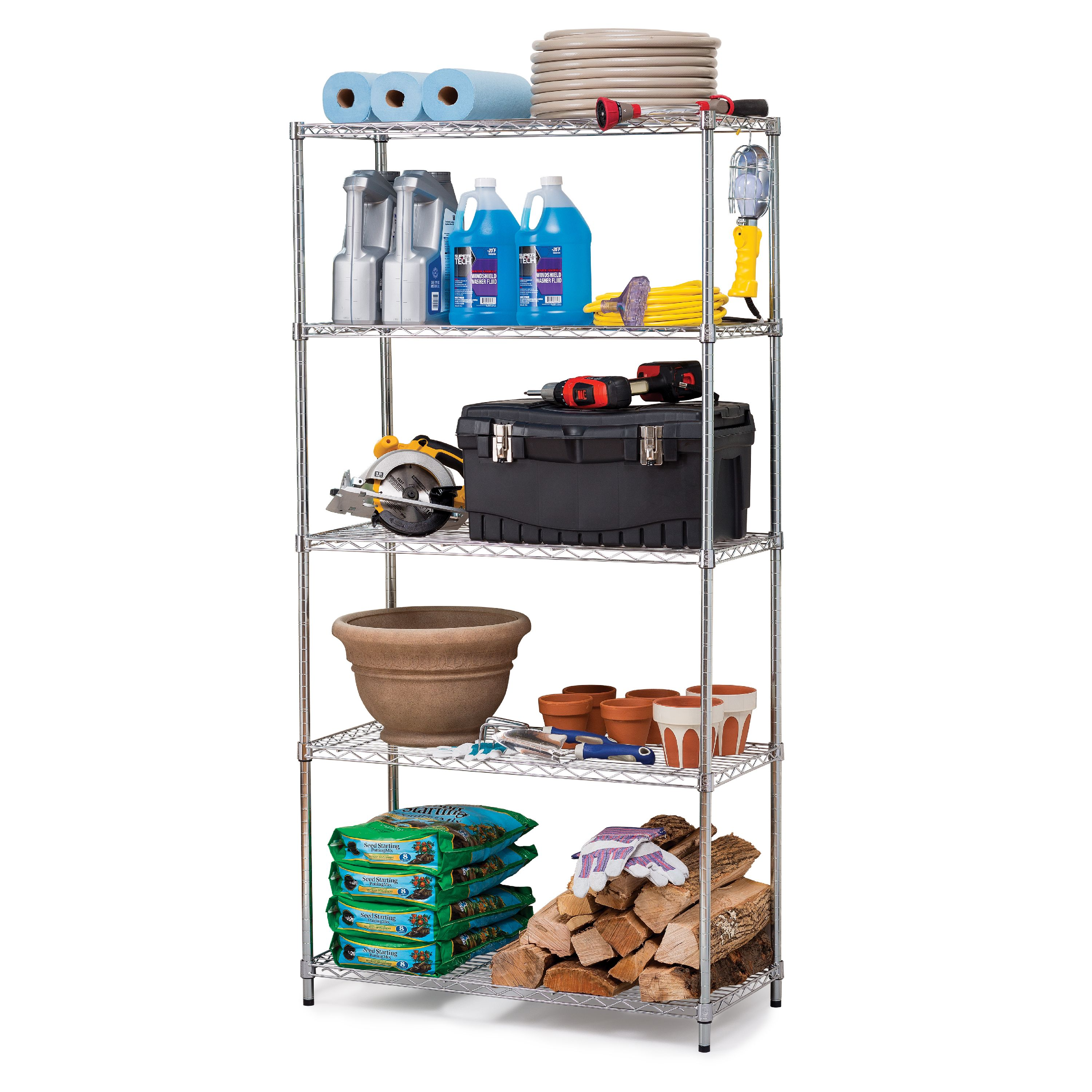 "HSS 16""Dx36""Wx72""H, 5 Tier Wire Shelving Rack, Silver/Zinc"