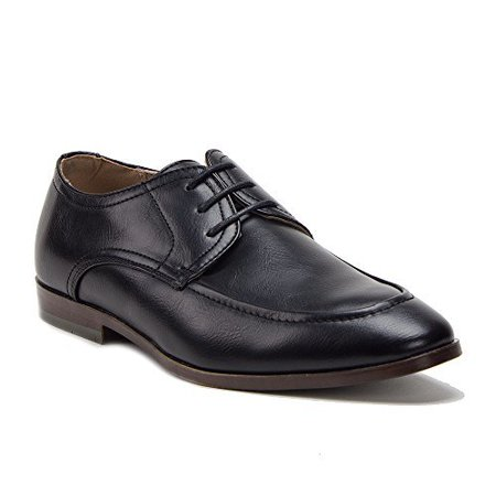 New Men's Leather Lined Round Toe Lace Up Oxford Dress Shoes, Black Brush, 11