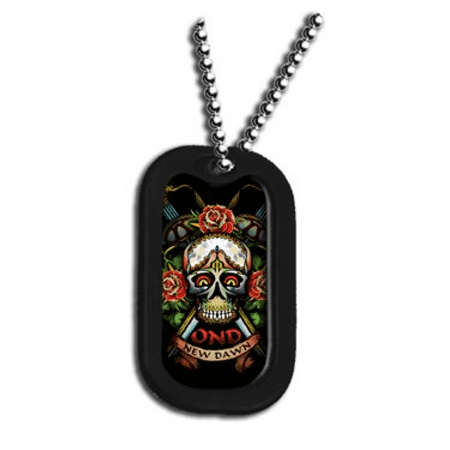 Dog Tags Chain (United States Operation NEW Dawn Armed Forces Skull and Roses Unit Division Rank Logo Symbols - Military Dog Tag Luggage Tag Key Chain Metal Chain)