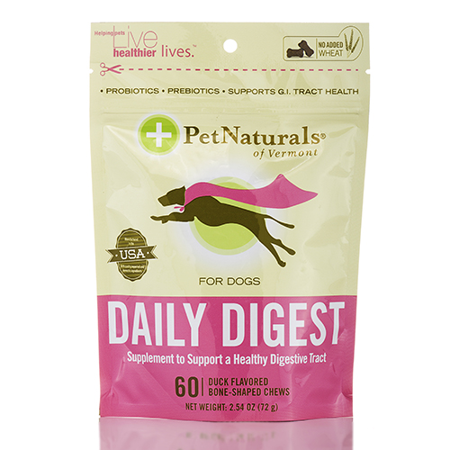 Daily Digest for Dogs - 60 Duck Flavored Bone-Shaped Chews by Pet Naturals of Ve