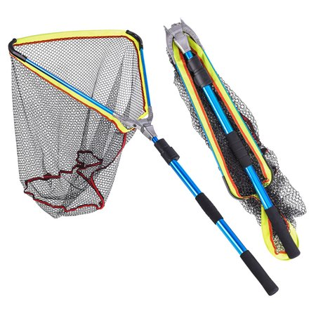 200MM Blue Aluminum Alloy Folding Fishing Landing Net Fish Net Cast Carp Rubber Coated Net Network with Extending Telescoping Pole Handle