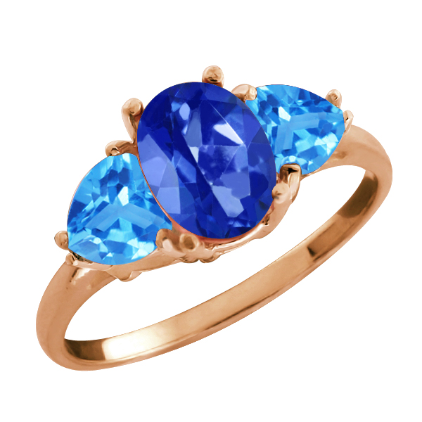 2.76 Ct Oval Royal Blue Mystic Topaz and Topaz Gold Plated 925 Silver Ring