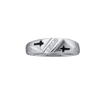 10kt White Gold Mens Round Diamond Single Row Cross Wedding Ring Band ( .05 cttw.)