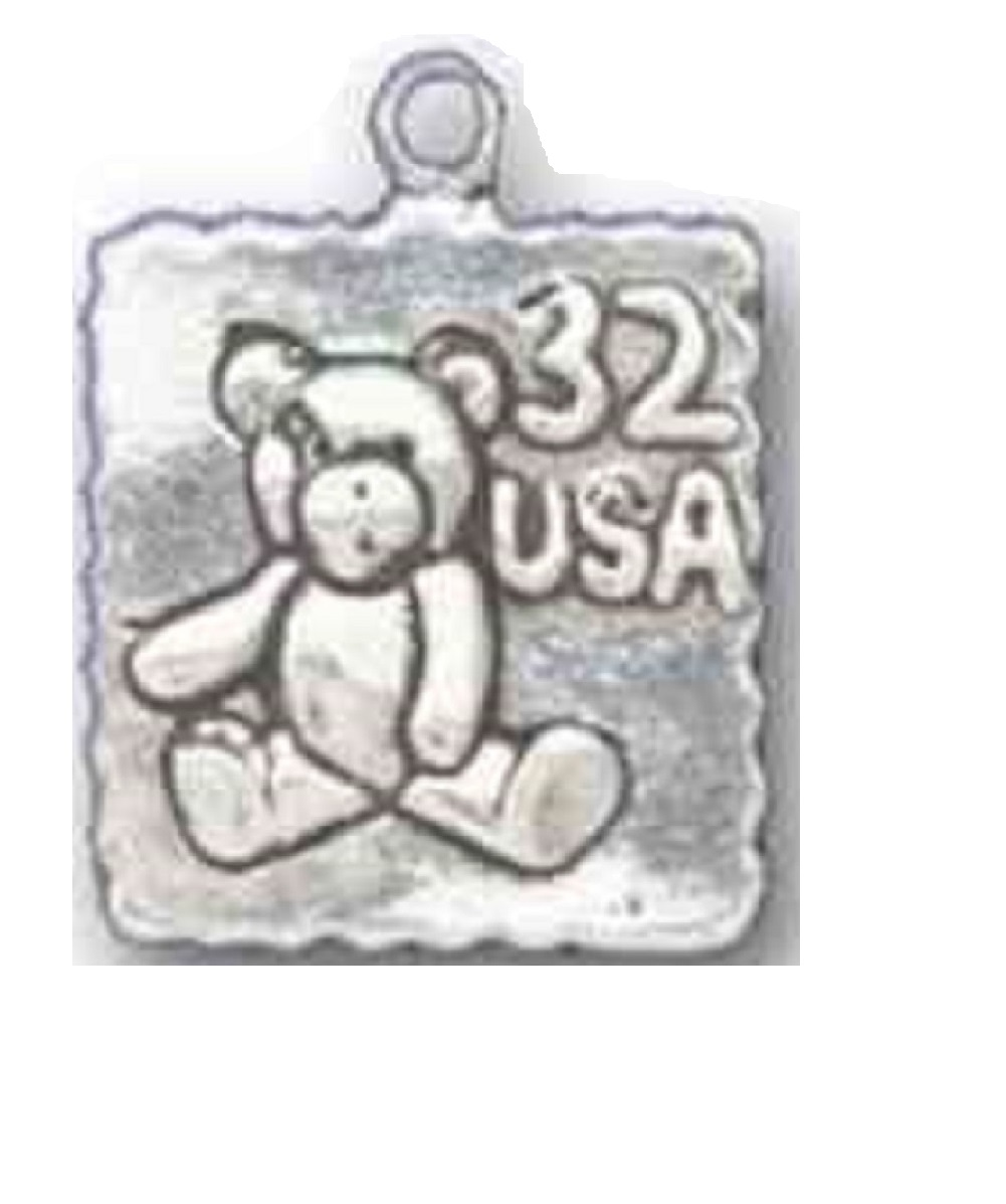 Sterling Silver Girls .8mm Box Chain 3D Seated Teddy Bear Bow Tie Pendant Necklace