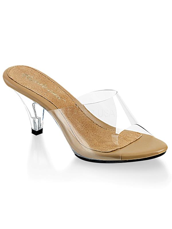 "BEL301/CT/C Fabulicious Shoes 3"" Belle CLEAR/TAN Size: 7"