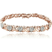 Women's 1/2 Carat Diamond X and Heart Bracelet in Rose Gold Tone