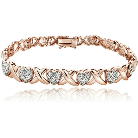 0.50 Carat T.W. Diamond 18kt Rose Gold-Tone X and Heart Bracelet (Cheap Bracelet)