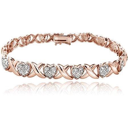 1/2 Carat Diamond X and Heart Bracelet in Rose Gold Tone Diamond Com Gold Bracelets