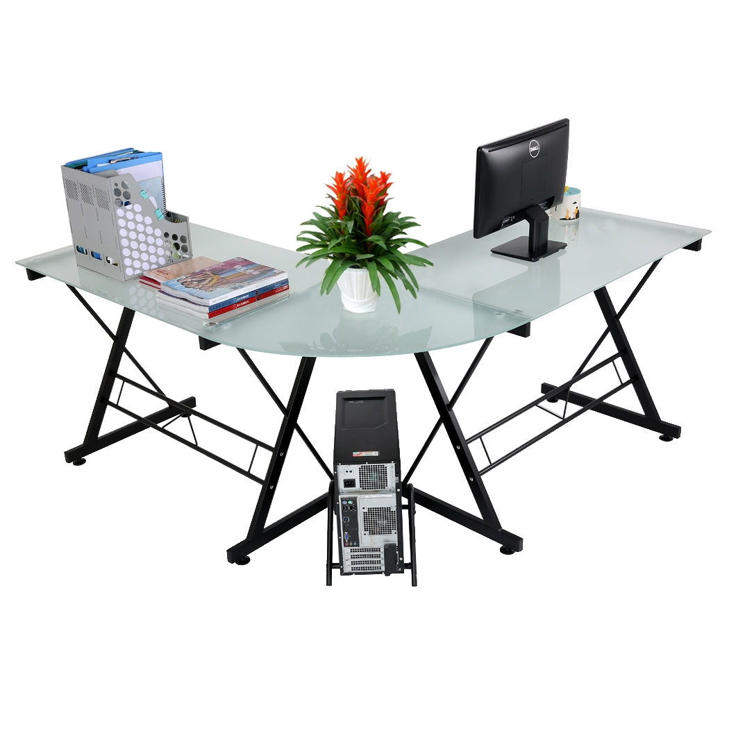 New 3-Piece L-Shape Computer Desk PC Laptop Desk Table Workstation Corner Home Office Glass and Steel Desk Black