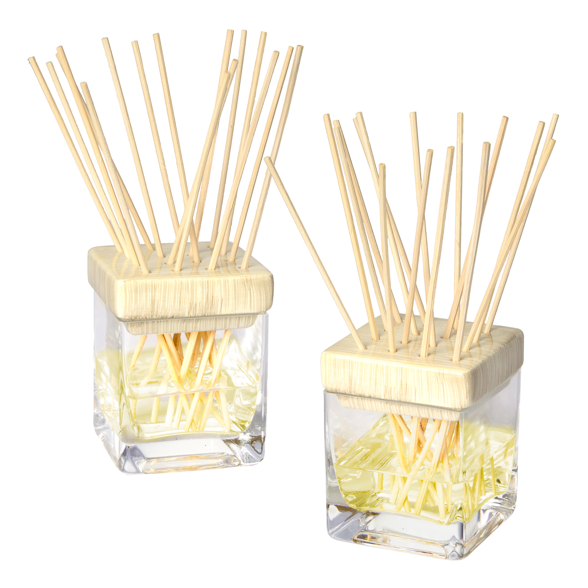 2 Reed Diffusers Essential Oils Set By Candle-lite Glass Ceramic Sticks Bottles