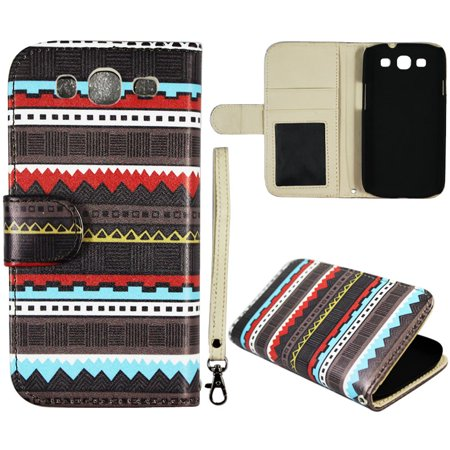 Black Tribal Wallet Folio Case for Samsung Galaxy S3 III i9300 Fashion Flip PU Leather Cover Card Slots & Stand](Samsung S3 Case)