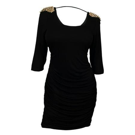 Plus Size Open Back Spike Studded Shoulder Dress Black