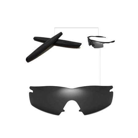 bb653f8e283 Walleva Black Polarized Lenses And Black Earsocks For Oakley M Frame Strike  Sunglasses - Walmart.com