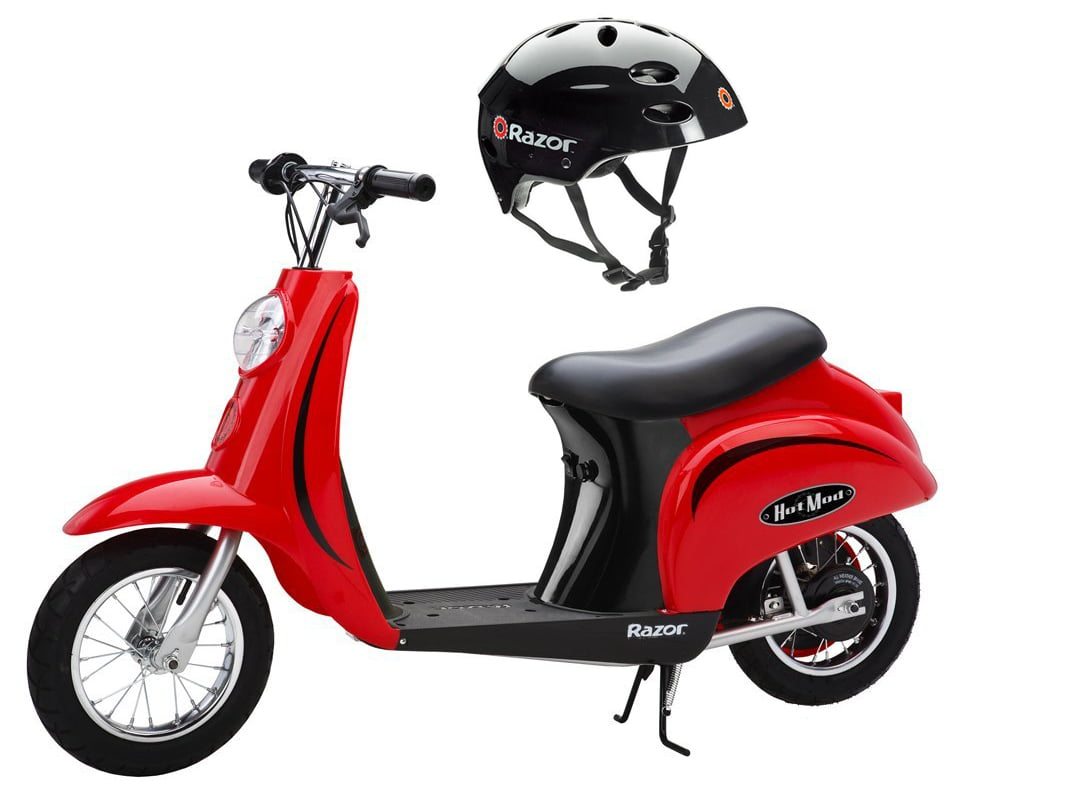Razor Pocket Mod 24V Electric Scooter (Red) & Youth Sport Helmet (Black) by Razor