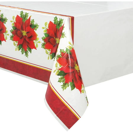 (12 pack) Holly Poinsettia Christmas Plastic Tablecloth, 84 x 54 in