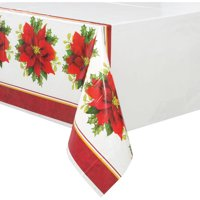 Holly Poinsettia Christmas Plastic Tablecloth, 84 x 54 in, 1ct