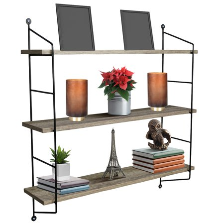 Sorbus 3 Tier Shelves, For Photos, Decorative Items, and Much More - (Grey Wood)