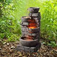 Deals on Peaktop Outdoor Stacked Stone Tiered Bowls Fountain w/LED Light