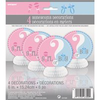 Gender Reveal Party Centerpiece Decorations, 6in, 4ct
