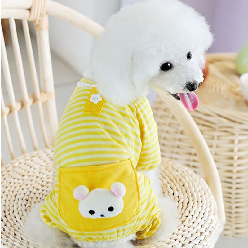 Pet Dog Stripes Pajamas Jumpsuits Coat Clothes Apparel Clothing