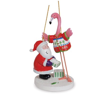 Santa with Flamingo in Ugly Tacky Christmas Sweater Holiday Ornament - Ugly Ornaments